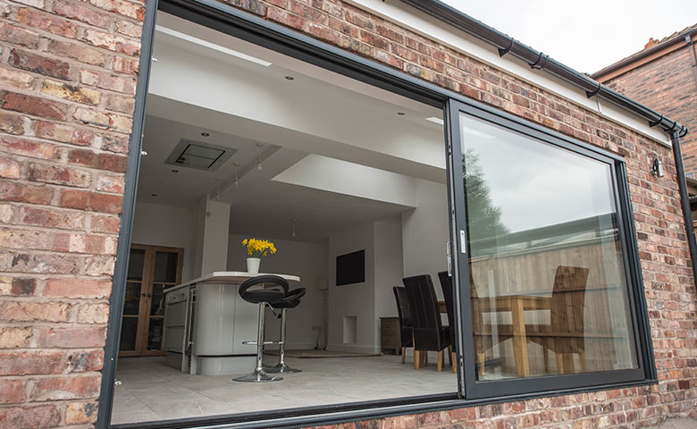Haus glass haus infinium sliding door haus glass for Multi track sliding glass doors